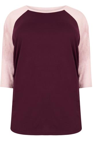 Burgundy & Pink 3/4 Sleeve T-Shirt With Contrast Raglan Sleeves
