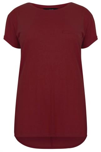 Burgundy Pocket Detail T-Shirt With Dipped Hem