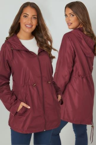 Parka Coats Burgundy Shower Resistant Pocket Parka Jacket With Hood 120043