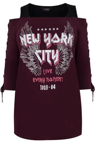 "Burgundy ""New York"" Print Cold Shoulder Top With Eyelet Lace Up Sleeves"