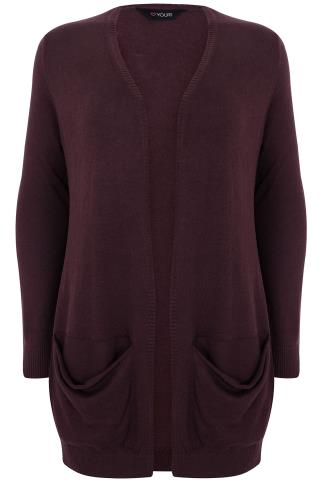 Burgundy Soft Knit Cardigan With Slouch Pockets