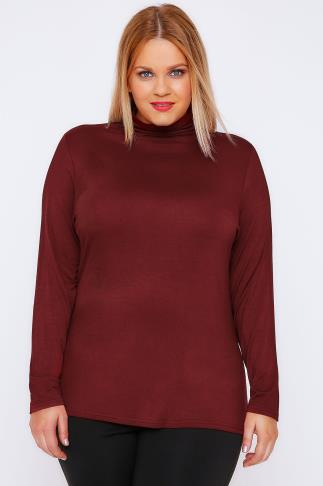 Burgundy Turtle Neck Long Sleeved Soft Touch Jersey Top
