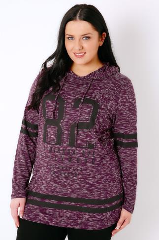 Sweat Tops Burgundy Varsity Print Hooded Sweat Top 103176