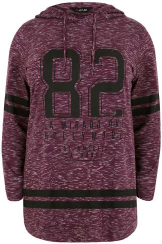 Burgundy Varsity Print Hooded Sweat Top