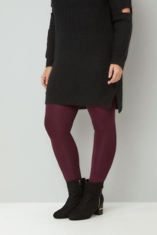 Basic Leggings Burgundy Viscose Elastane Leggings 142104