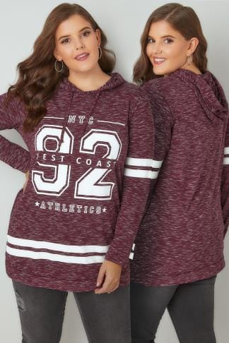 Sweatshirts Burgundy & White Varsity Slogan Print Hooded Sweatshirt 132454