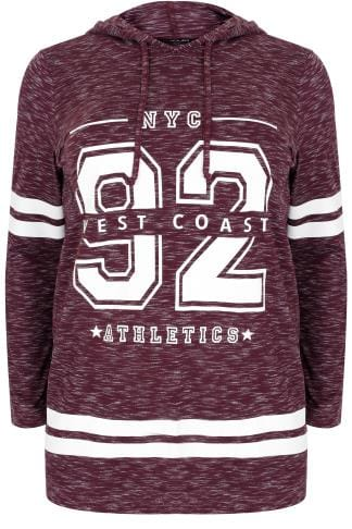 "Sweatshirts Burgundy ""West Coast"" Varsity Print Hooded Sweatshirt 132454"