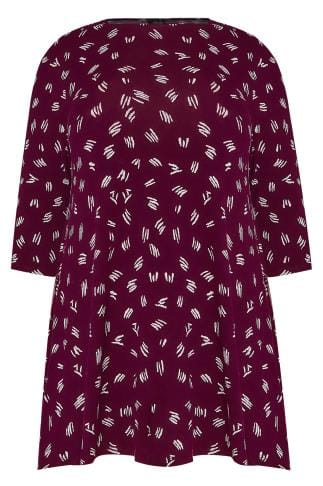 Burgundy & White Line Print Jersey Swing Top With 3/4 Length Sleeves