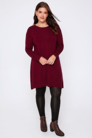 Tunic Dresses Burgundy Wool Blend Tunic Dress With Front Seam Detail 101552