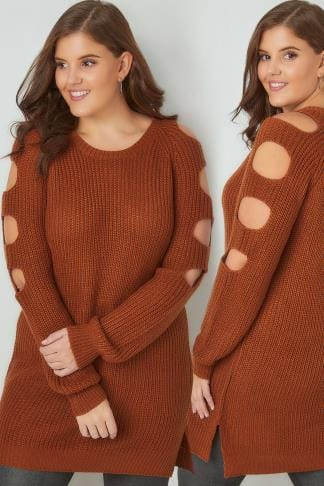 Jumpers Burnt Orange Chunky Knit Longline Jumper With Slashed Shoulders 124154