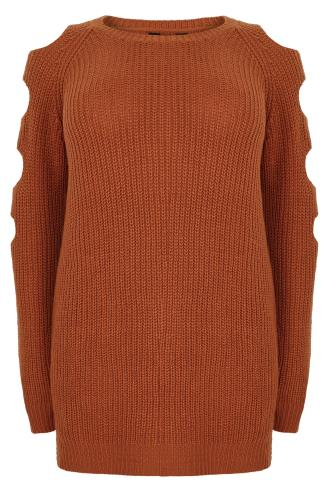 Burnt Orange Chunky Knit Longline Jumper With Slashed Shoulders