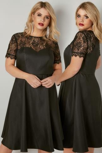 Black Dresses CHI CHI Black Georgie Midi Dress With Floral Lace Detailing 138867
