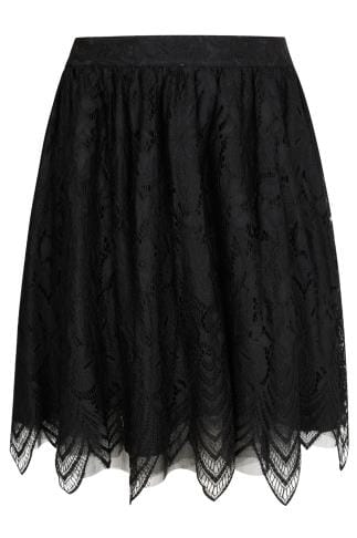 CHI CHI Black Lace & Mesh Midi Skater Skirt With Eyelash Hem