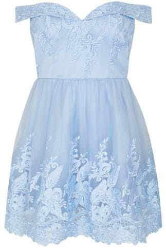 CHI CHI Blue Embroidered Mesh Bardot Sweetheart Prom Dress