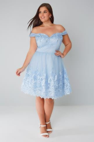 Partykleider CHI CHI Blue Embroidered Mesh Bardot Sweetheart Prom Dress 138355