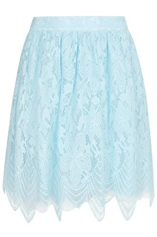 CHI CHI Blue Lace & Mesh Midi Skater Skirt With Eyelash Hem