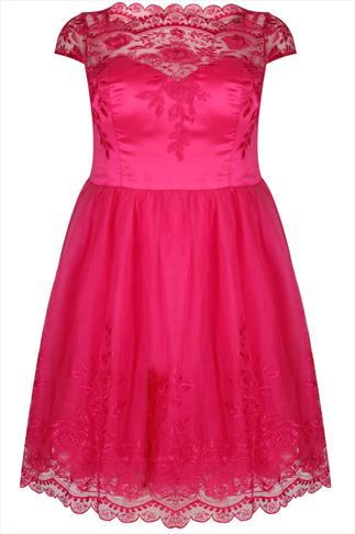 CHI CHI LONDON Hot Pink Sweetheart Embroidered Party Dress