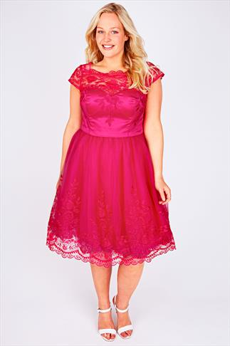 CHI CHI LONDON Hot Pink Sweetheart Embroidered Party Dress 101355