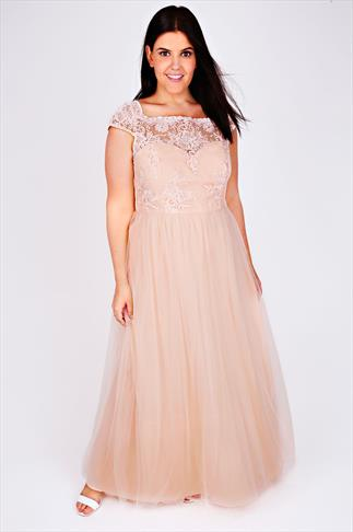 CHI CHI LONDON Nude Embroidered Prom Dress