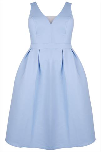 CHI CHI LONDON Pastel Blue Flared Prom Dress With Cut Out Back