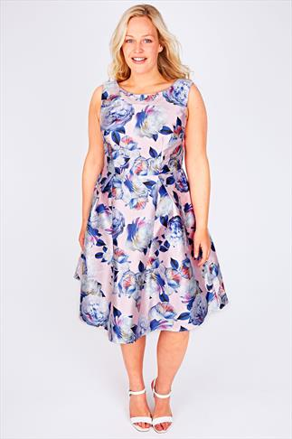 CHI CHI LONDON Pale Pink Floral Print Sateen Party Dress