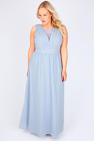 CHI CHI LONDON Pastel Blue Maxi Prom Dress With Diamanté Details