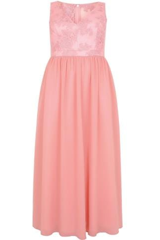 Evening Dresses CHI CHI Pink Sleeveless Maxi Dress With Embroidered Body & Mesh Skirt 138358