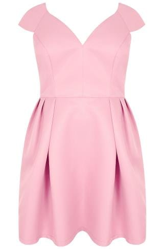 Party Dresses CHI CHI Pink V-Neck Prom Dress With Cap Sleeves 138353