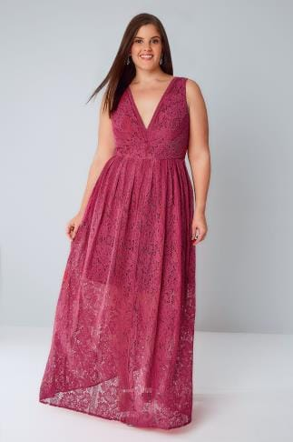 Maxikleider CHI CHI Raspberry Pink Sleeveless Maxi Dress With Floral Lace Overlay 138356
