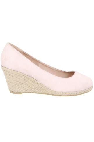 Wide Fit Wedges Nude COMFORT INSOLE Closed Toe Espadrille Wedges In TRUE EEE Fit 154020