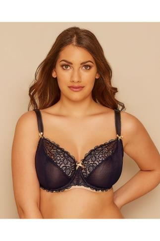 CURVY KATE Black Ellace Balcony Bra With Champagne Trim 138446