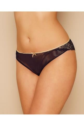 Briefs Knickers CURVY KATE Black Ellace Brief With Champagne Trim 138447