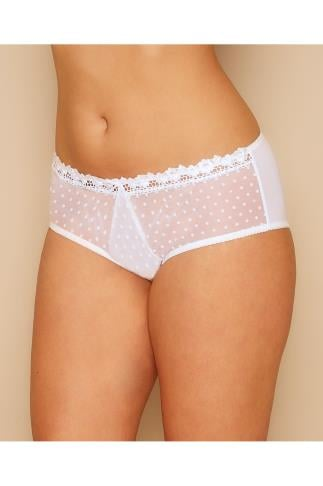 Briefs Knickers CURVY KATE White Polka Dot Princess Short 138441