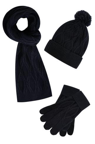Hats & Scarves BadRhino Navy Cable Knit Hat Scarf & Gloves Set 101944
