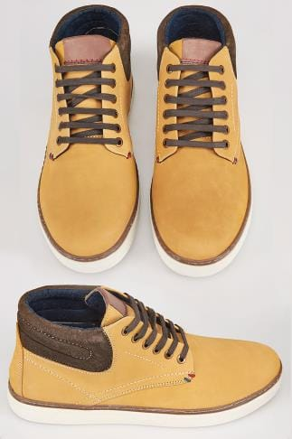 Camel Nubuck LEATHER Lace-Up Ankle Boots In Wide Fit