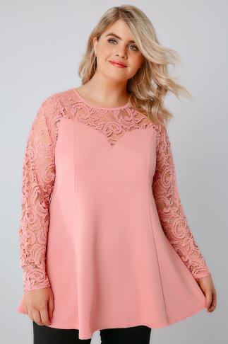 Candy Pink Peplum Top With Lace Yoke & Sleeves 156086