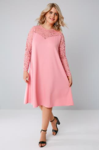 Candy Pink Swing Dress With Lace Yoke & Sleeves 156087