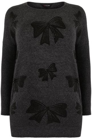 Charcoal Grey Fine Knit Jumper With Diamante Embellished Bow Print