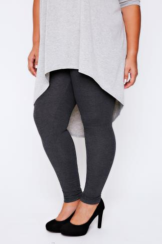 "Charcoal Grey Full Length Cotton Mix Leggings - 28"" Leg"