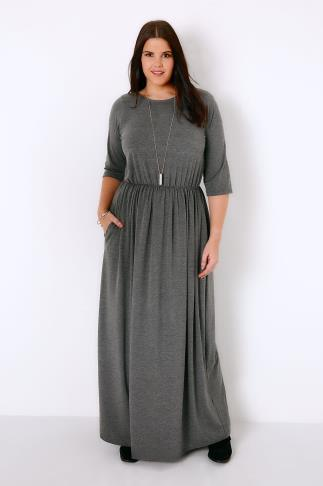 Charcoal Grey Jersey Maxi Dress With Ruched Waist and Pockets