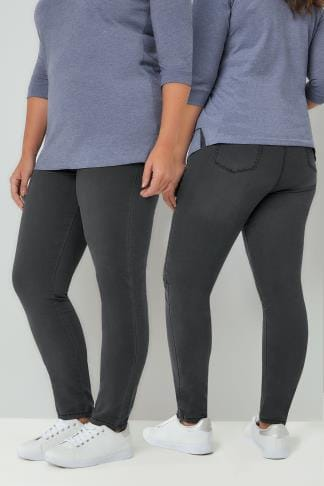 Shaper Jeans Charcoal Grey Pull On Stretch SHAPER JENNY Jeggings 142089