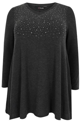 Charcoal Grey Star Studded Swing Top With V-Neckline