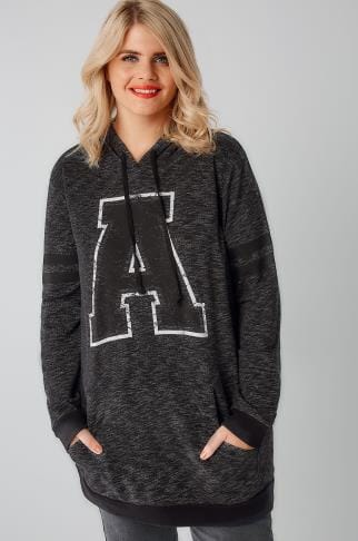 "Sweatshirts Charcoal Grey Varsity ""A"" Hooded Sweat Top 126015"