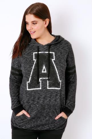 "Sweat Tops Charcoal Grey Varsity ""A"" Hooded Sweat Top 126015"