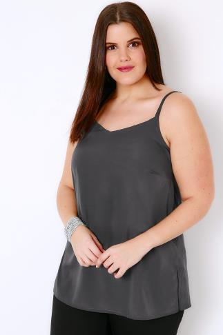 Charcoal Grey Woven Cami Top