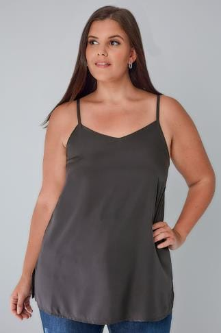 Vests & Camis Charcoal Grey Woven Cami Top 130000