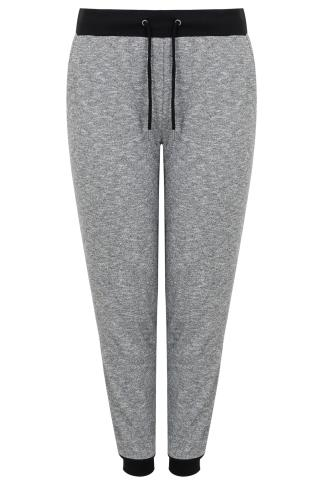 Charcoal Joggers With Black Contrast Cuff