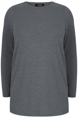 Charcoal Marl Long Sleeve Soft Touch Jersey Top