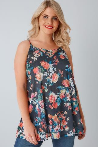 Vests & Camis Charcoal & Multi Floral Print V-Neck Cami Vest Top With Cross Front Detail 170267