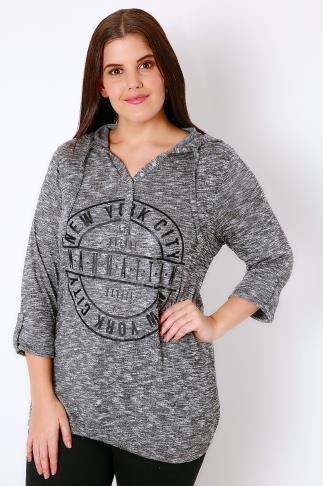 Charcoal New York Slogan Popper Hooded Top With Bubble Hem 103134